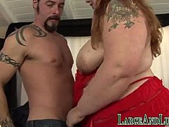 Enormous red-haired comes by plowed and jerks magic wand